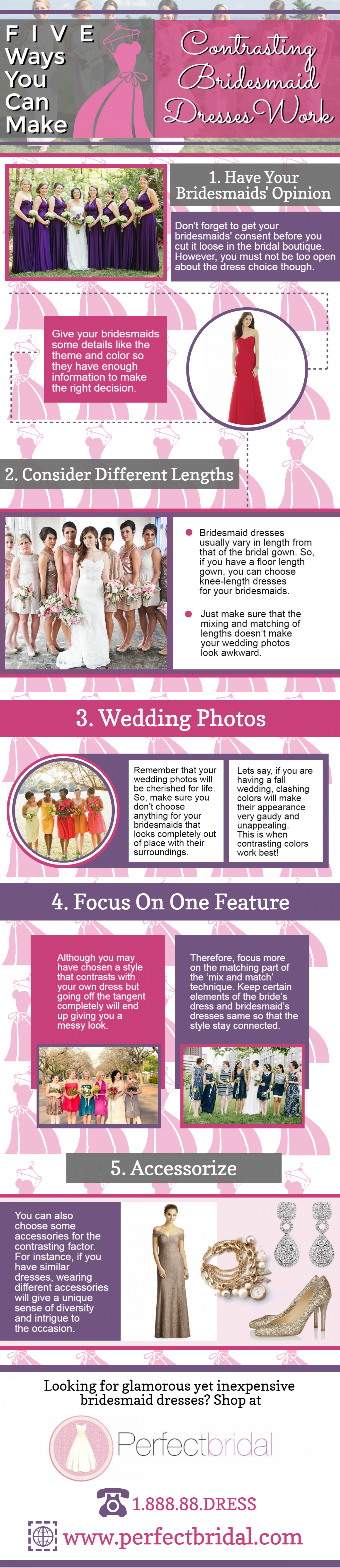 Five Ways You Can Make Contrasting Bridesmaid Dresses Work Infographic