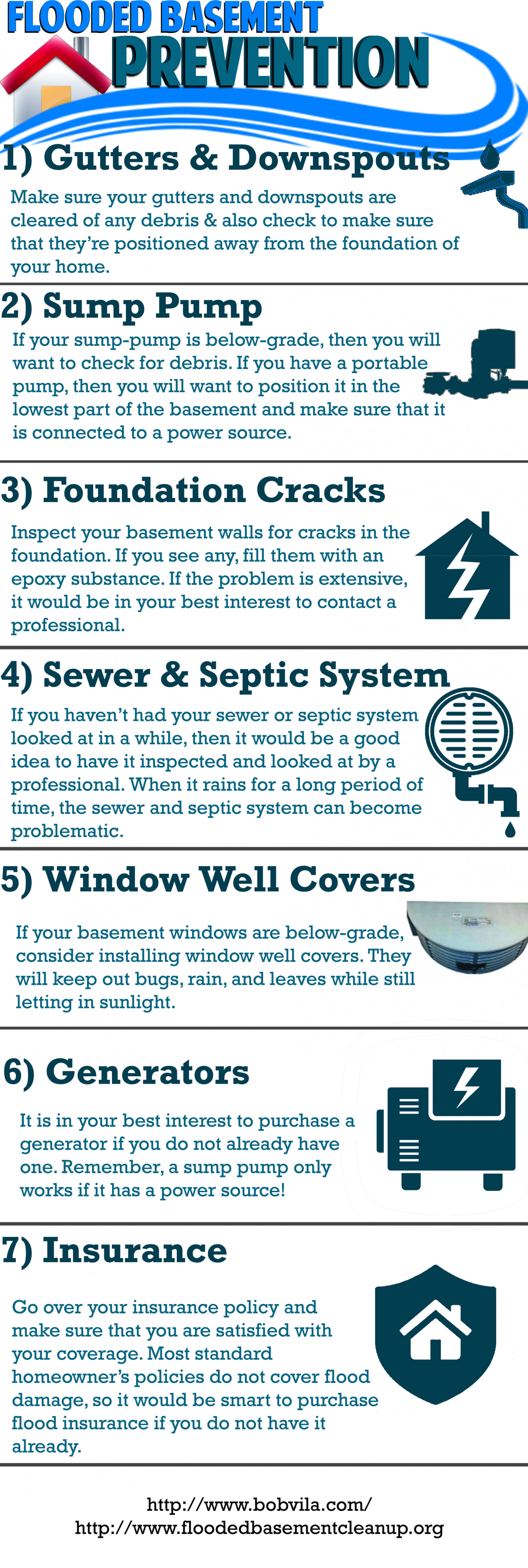 Flooded Basement Prevention For Spring Infographic