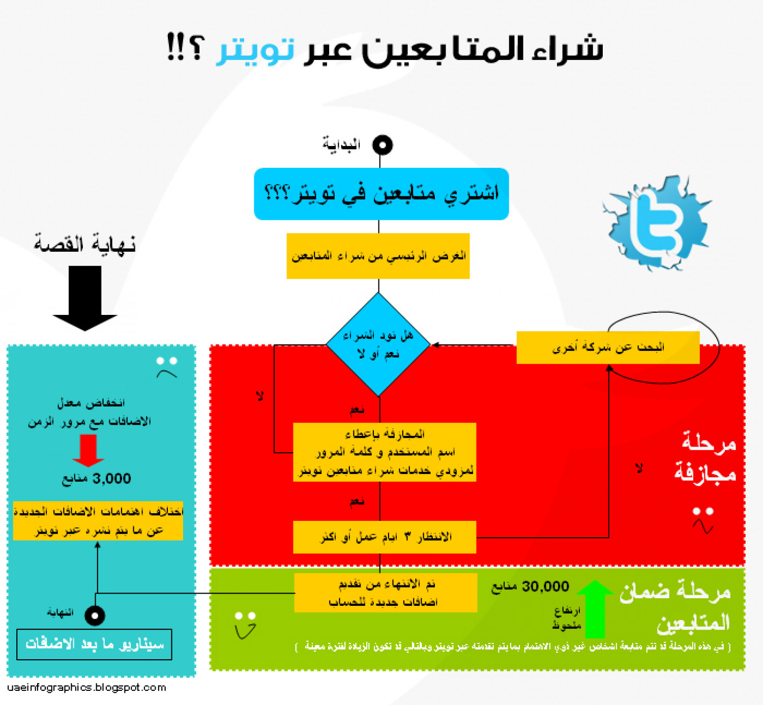 Flow Chart [Buying Twitter Followers] Infographic