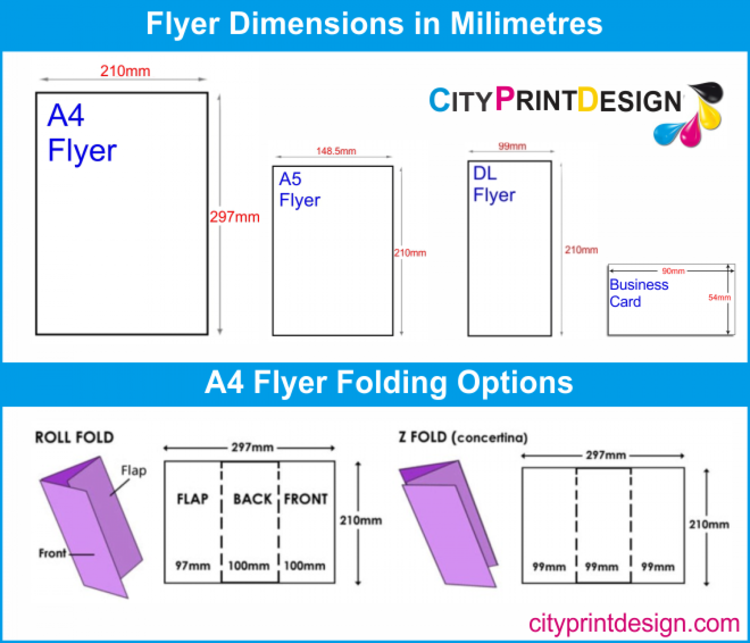 flyer and business dimensions