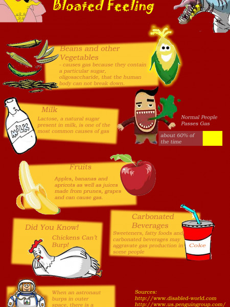 Foods that Causes Gas and Bloated Feeling Infographic