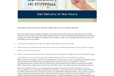 FOR EVERY QUICK DELIVERY SERVICE, MERATASK IS THE ULTIMATE ANSWER. | Meratask Infographic