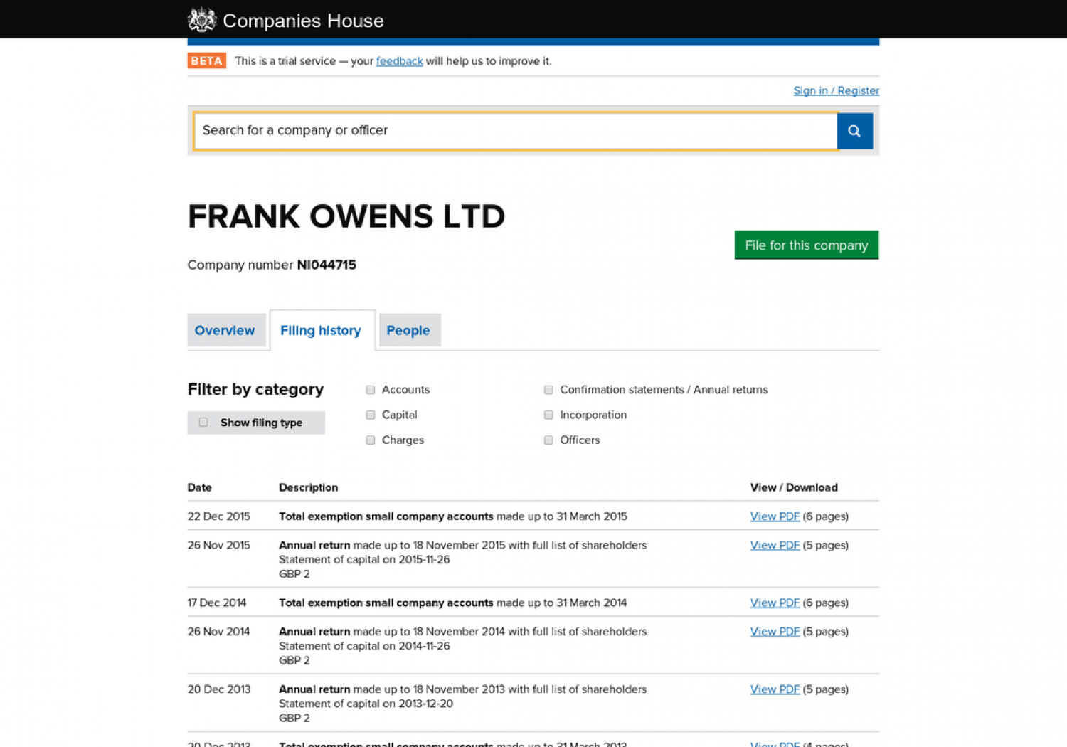 Frank Owens LTD Home Building Industry - Filing History Infographic