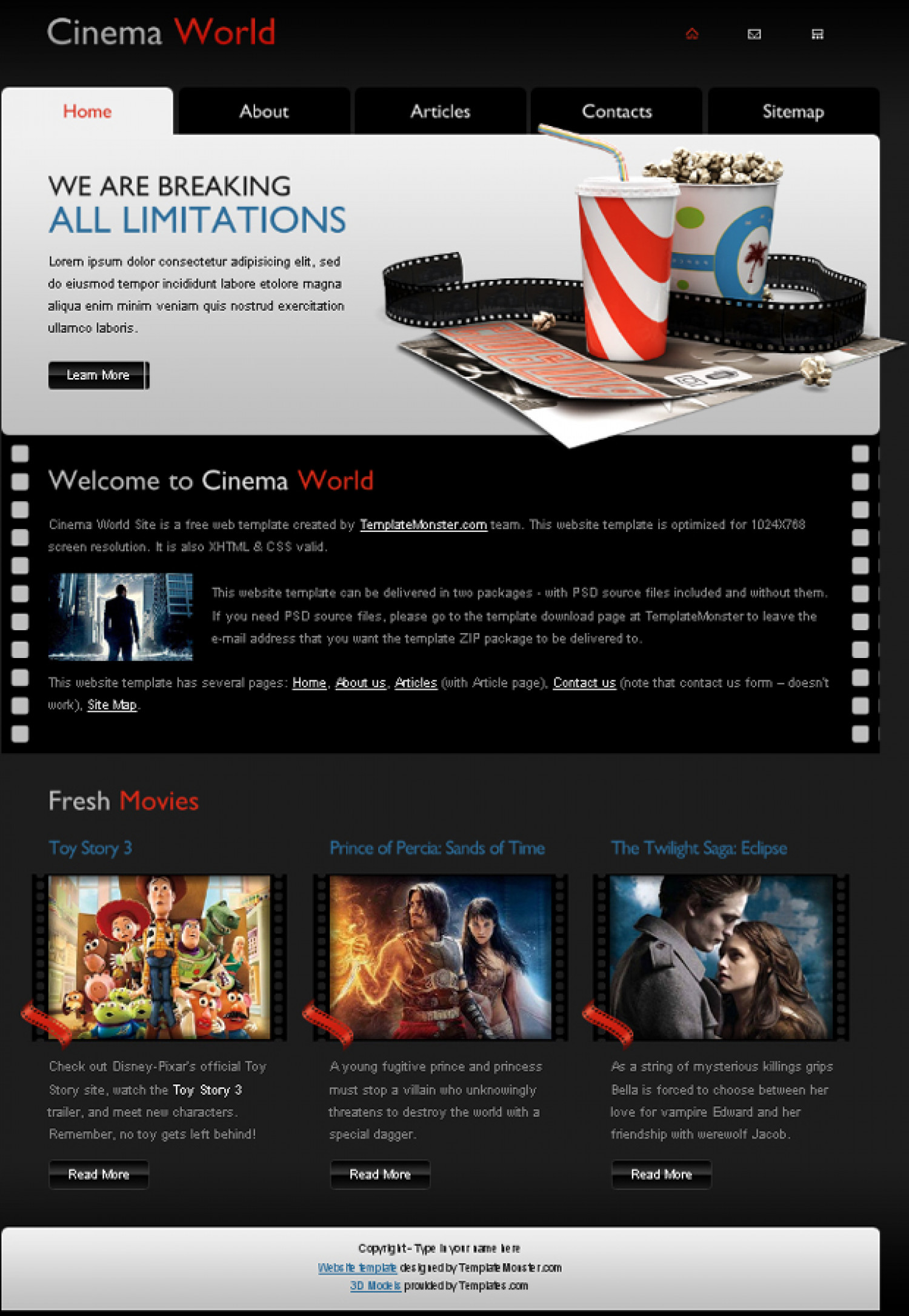 free cinema website template a new monday freebie. Black Bedroom Furniture Sets. Home Design Ideas