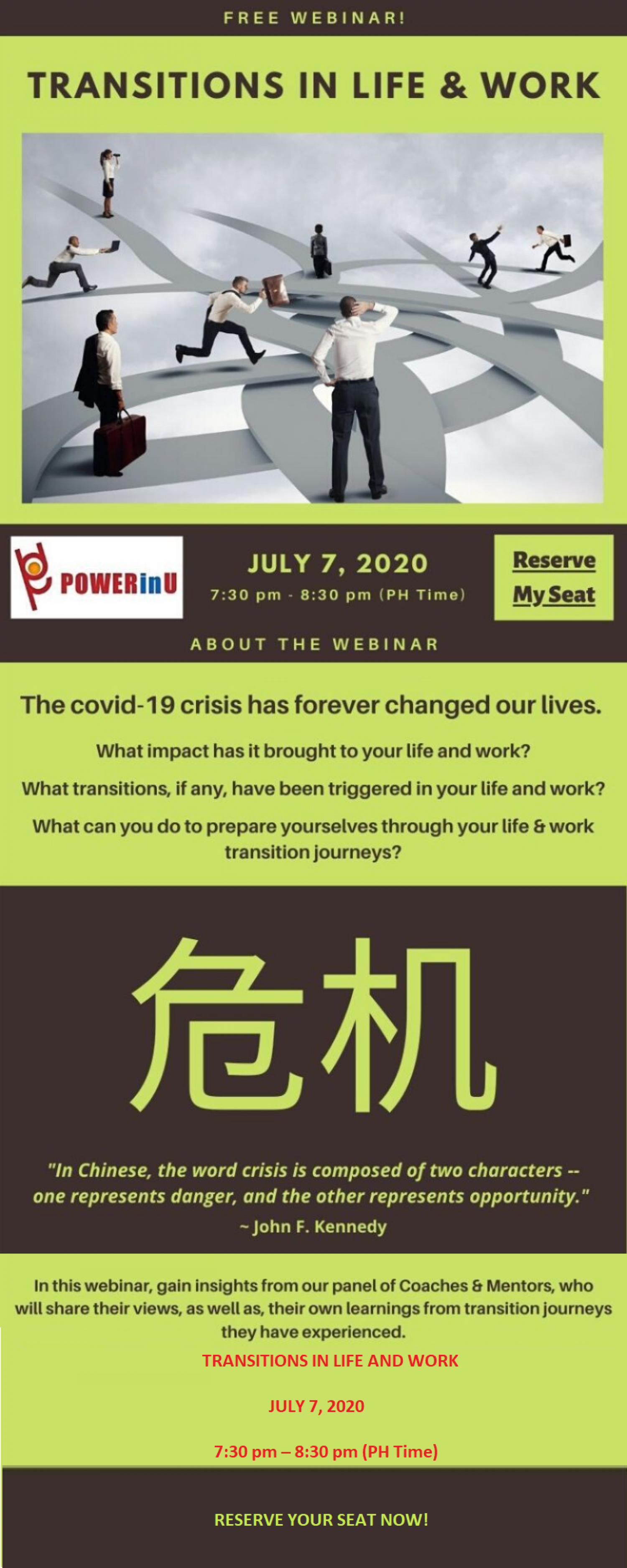 Free Webinar on Transitions in Life & Work Infographic