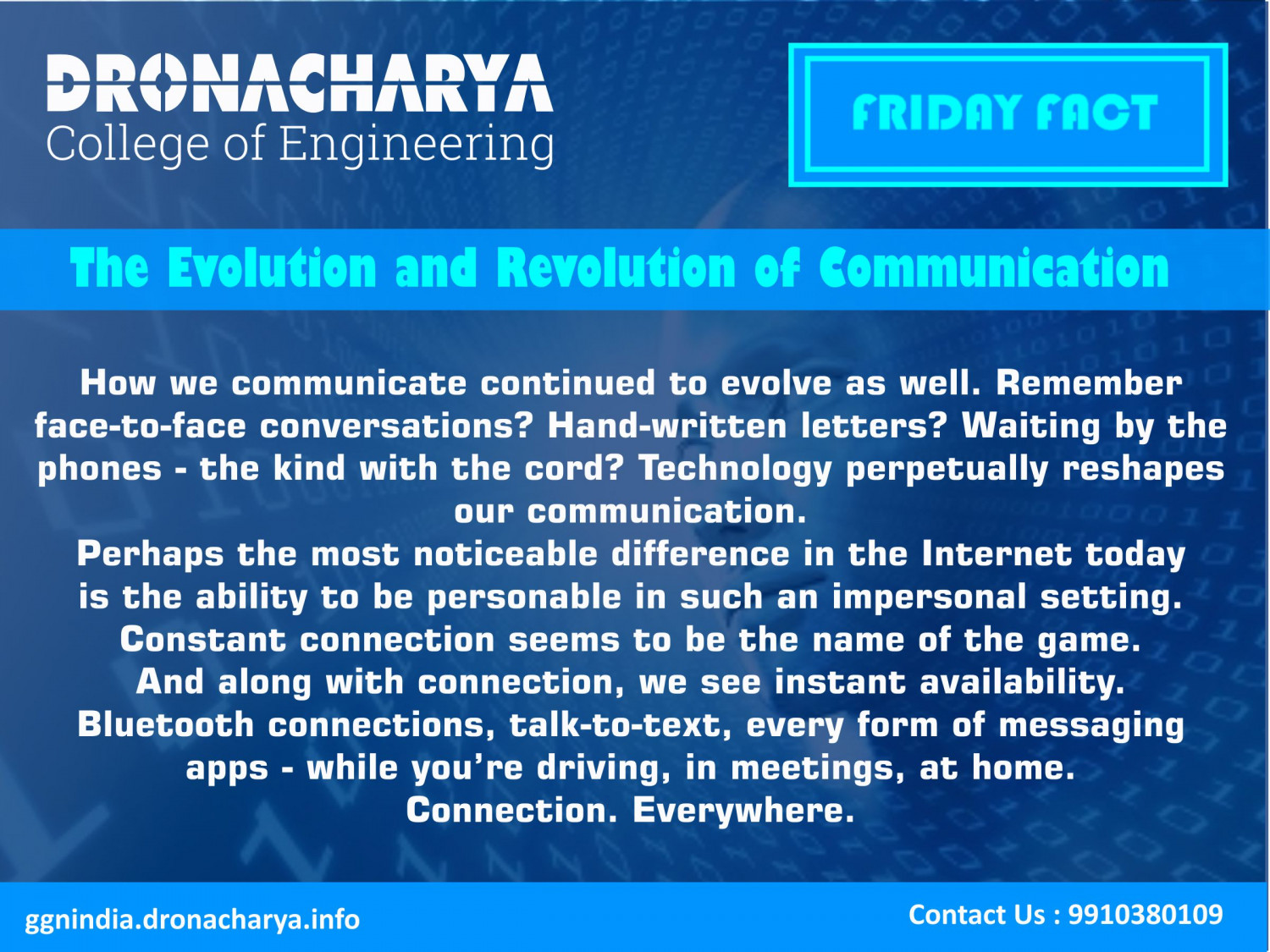 Friday fact_Dronacharya College of Engineering Infographic