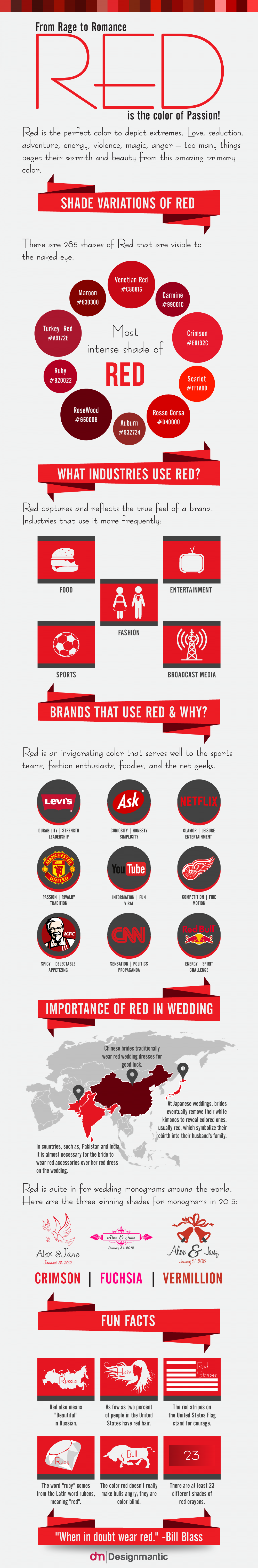 From Rage to Romance, Red is the Color of Passion!  Infographic