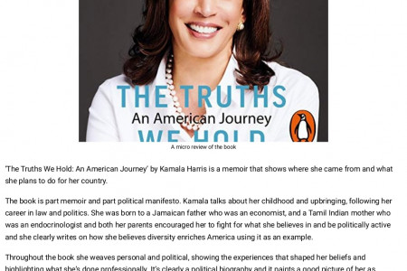 Frontlist | A micro review of 'The Truths We Hold' by Kamala Harris Infographic