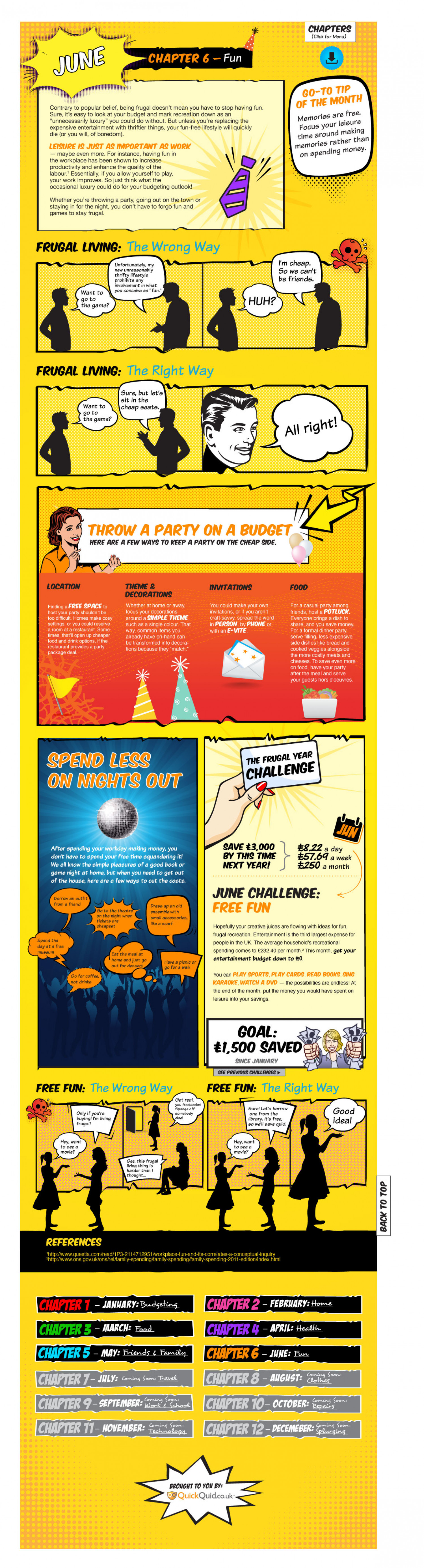 Frugal Living Handbook Chapter 6: How to Save on Fun Infographic