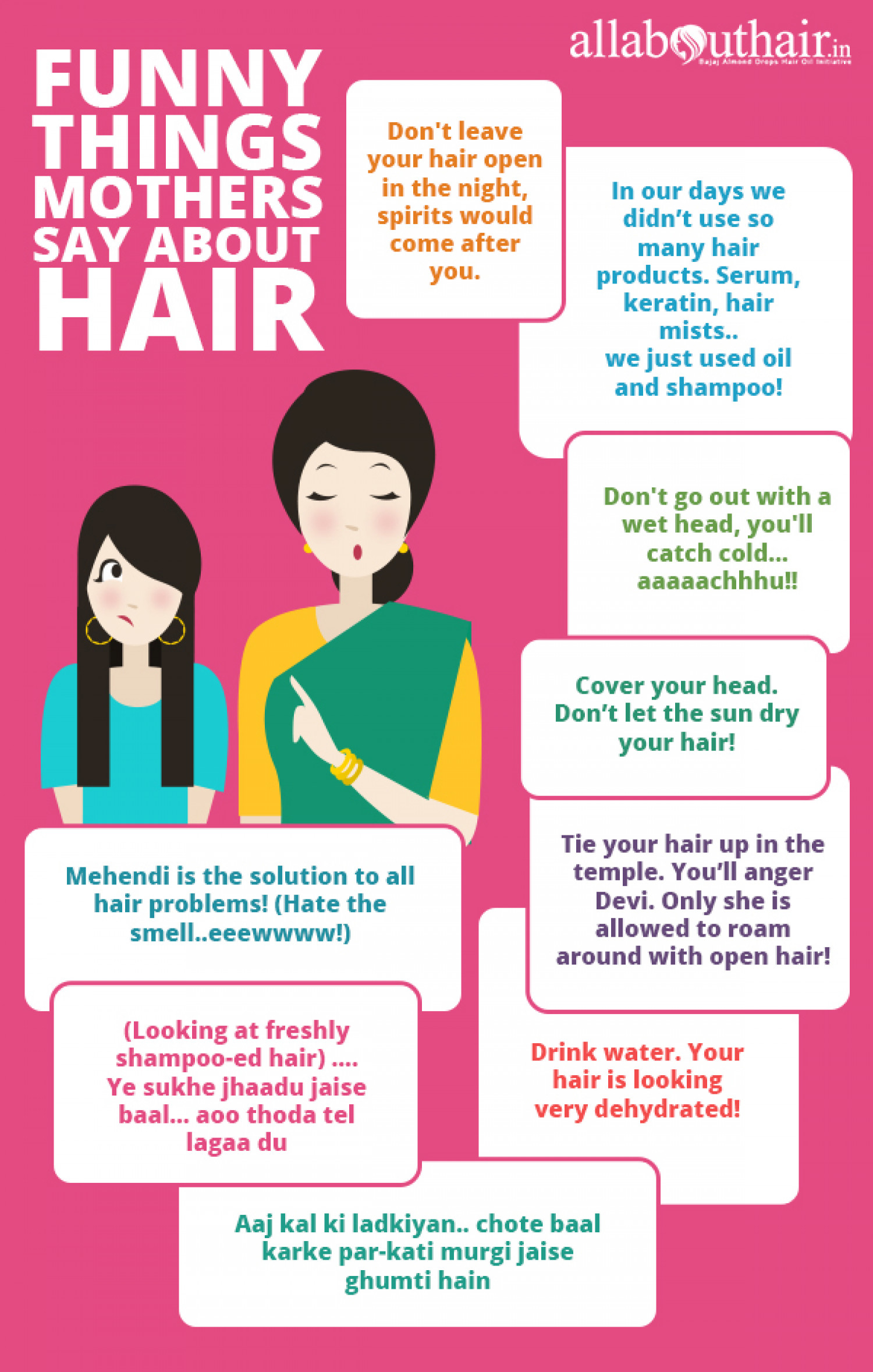 Funny Things Mothers Say About Hair Infographic