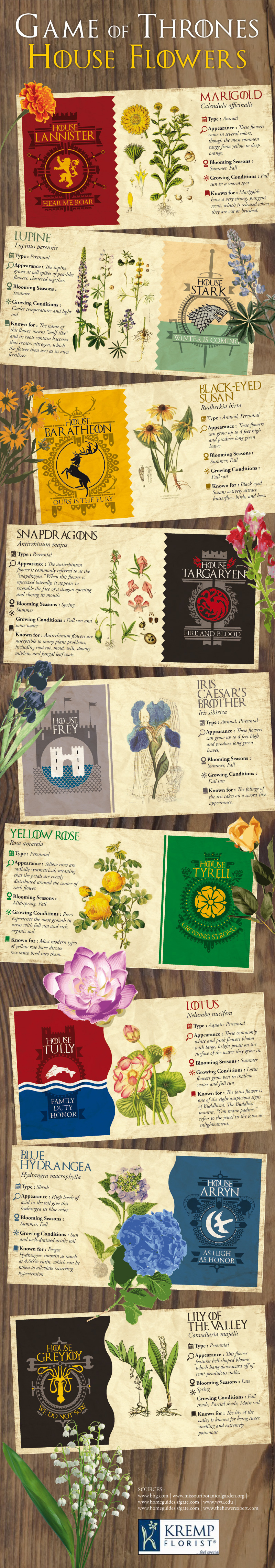 Game of thrones house flowers visual game of thrones house flowers infographic izmirmasajfo Image collections