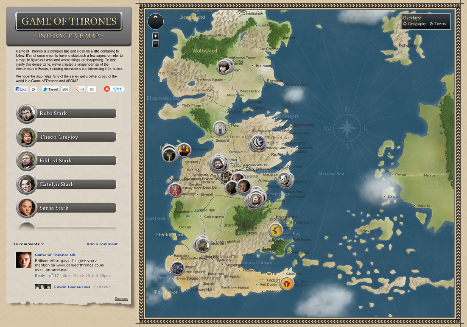 Game of thrones interactive map visual game of thrones interactive map infographic gumiabroncs Image collections