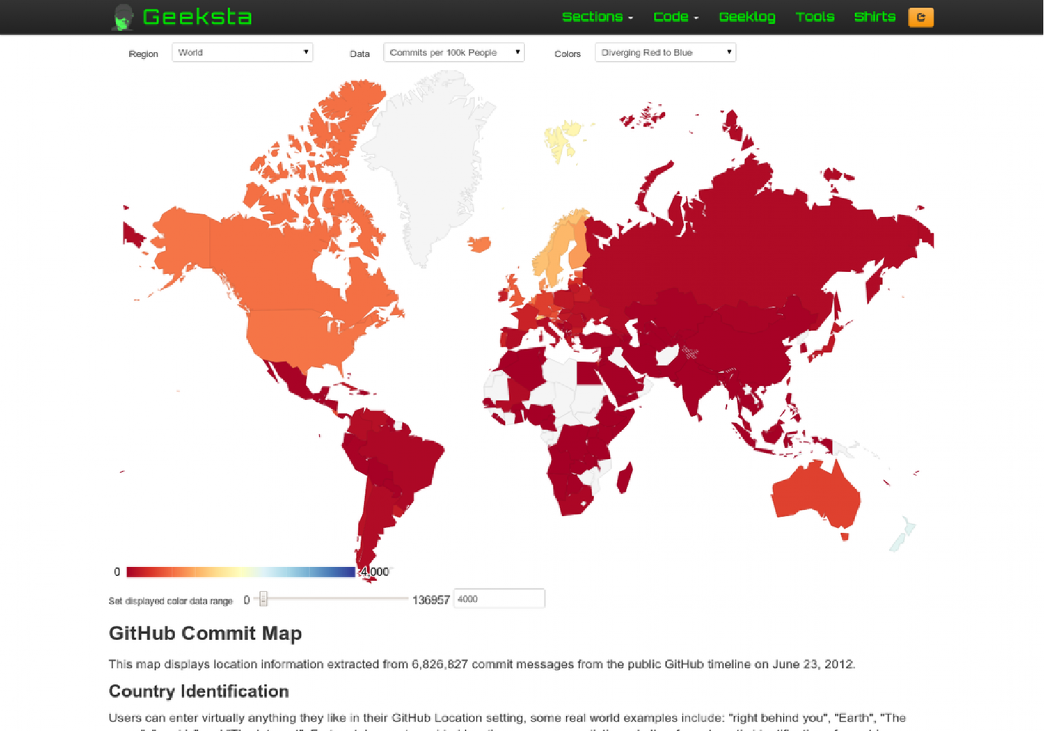 Geo Map of GitHub Commits Infographic