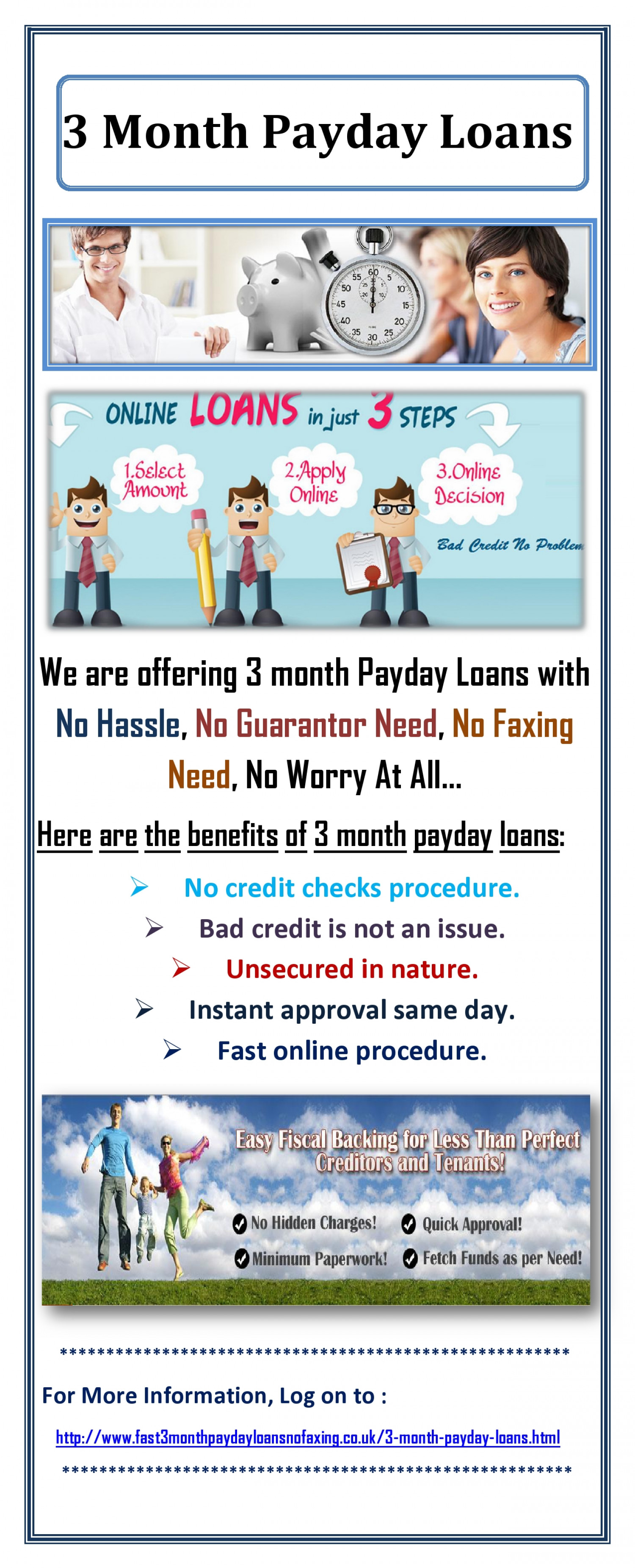 Get 3 Month Payday Loans Without Any Paper Work Infographic