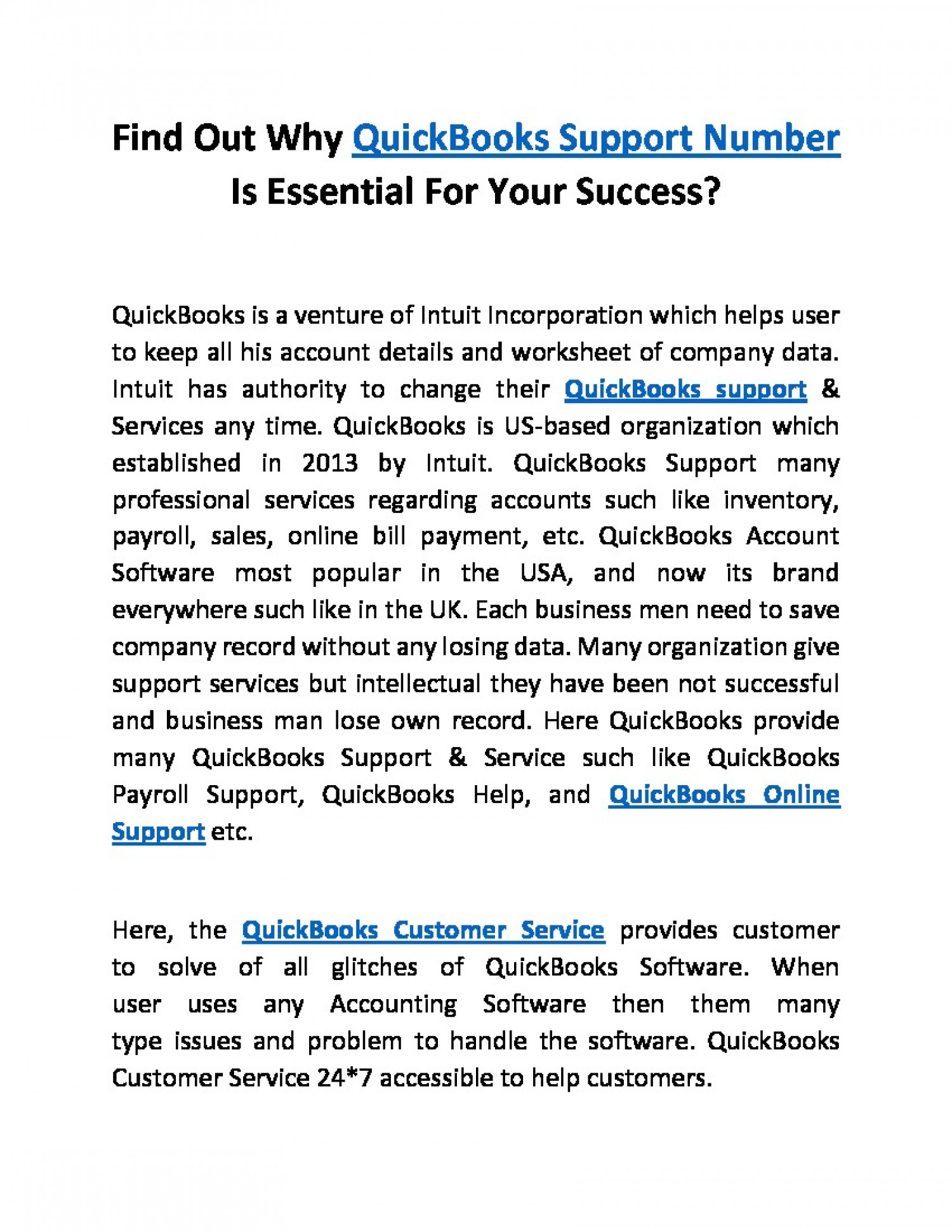 Get Assistance with QuickBooks Support +1-800-518-1838 Infographic