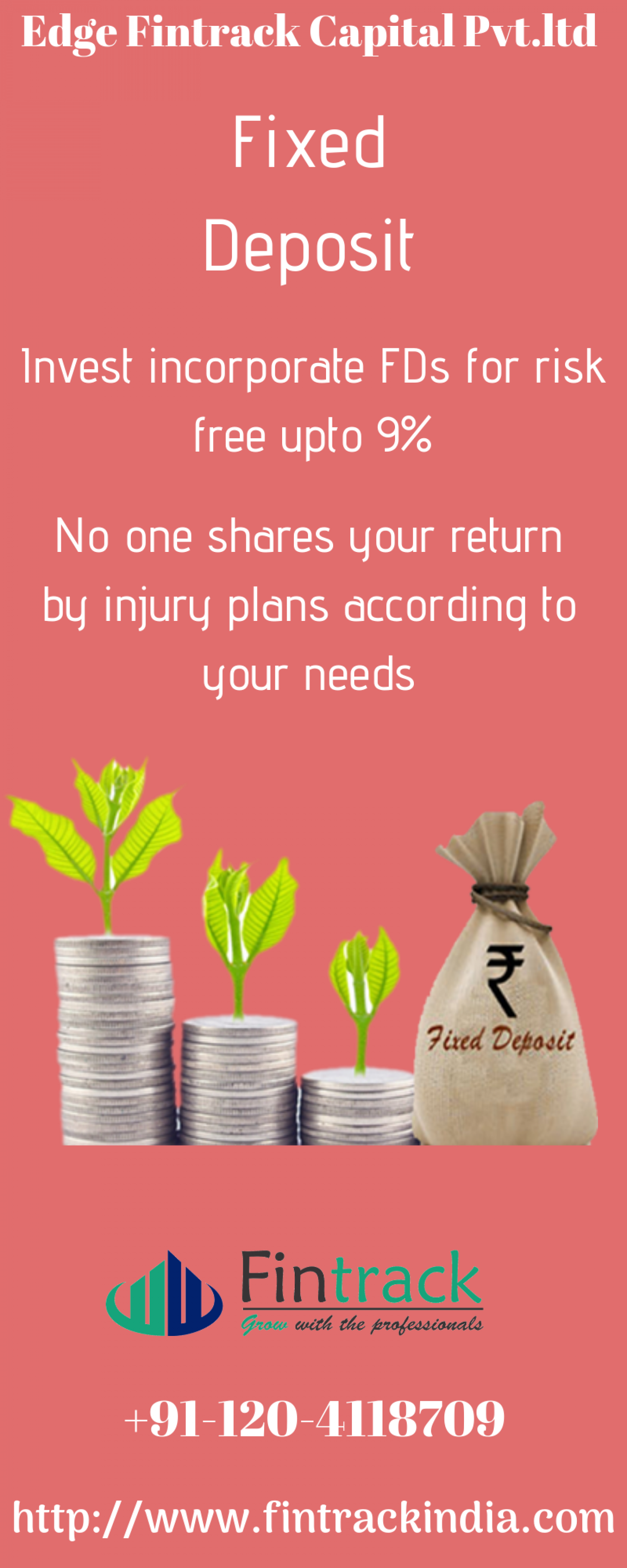 Get Best Fixed deposit services with Fintrack India. Call +91-120-4118709   and start investing now. Infographic