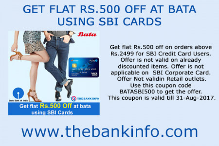 GET FLAT RS.500 OFF AT BATA USING SBI CARDS Infographic