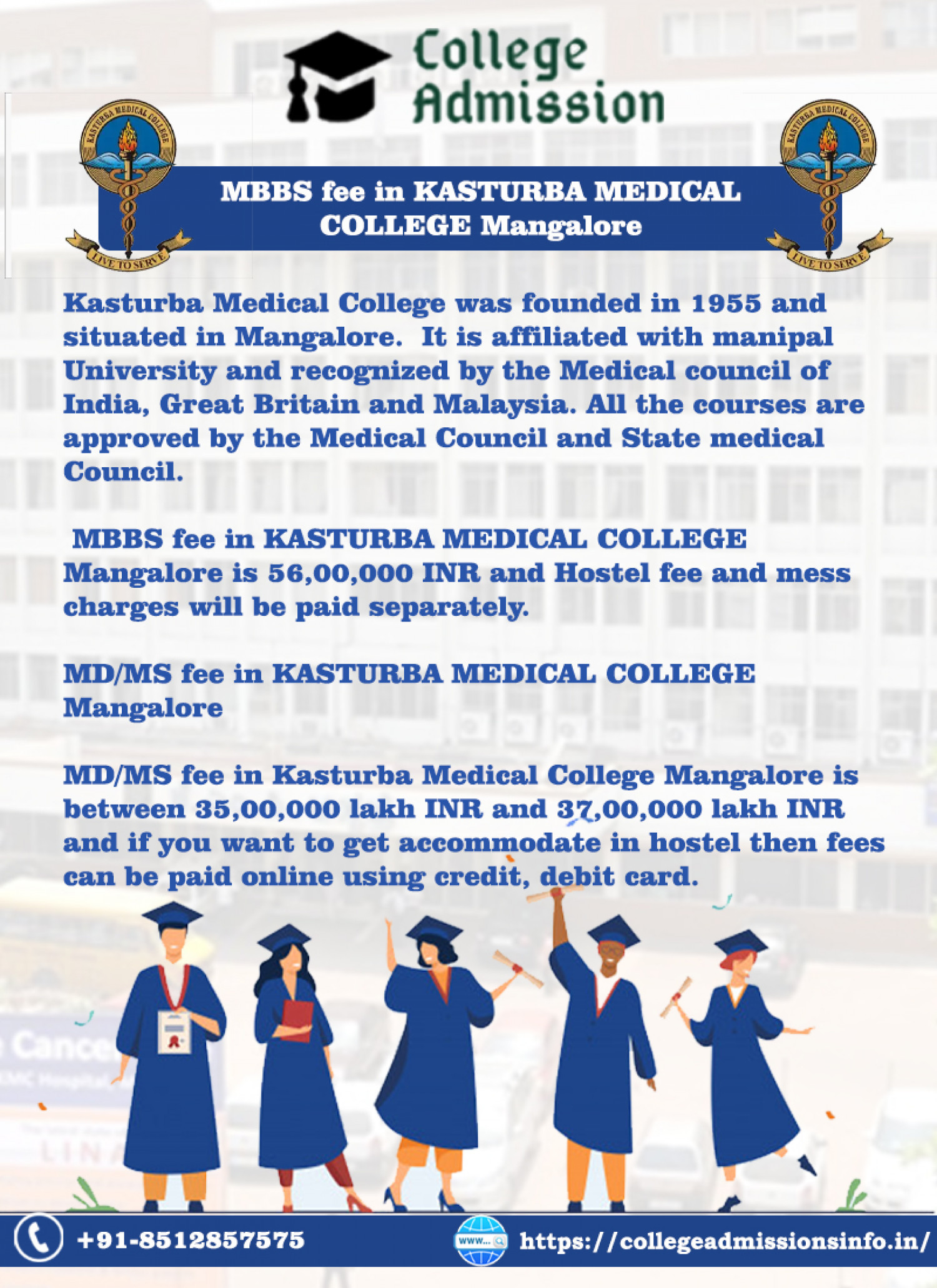 Get MBBS fee structure in Kasturba Medical College Infographic