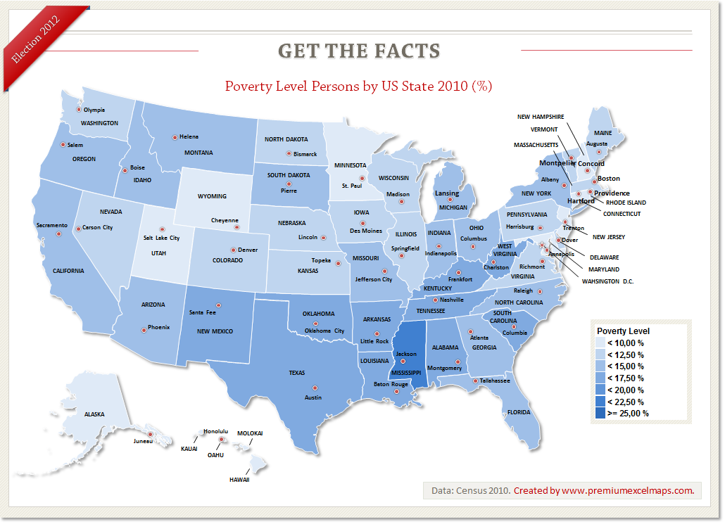 Get The Facts Poverty Level Persons By US State In Visually - Map of poverty in the us