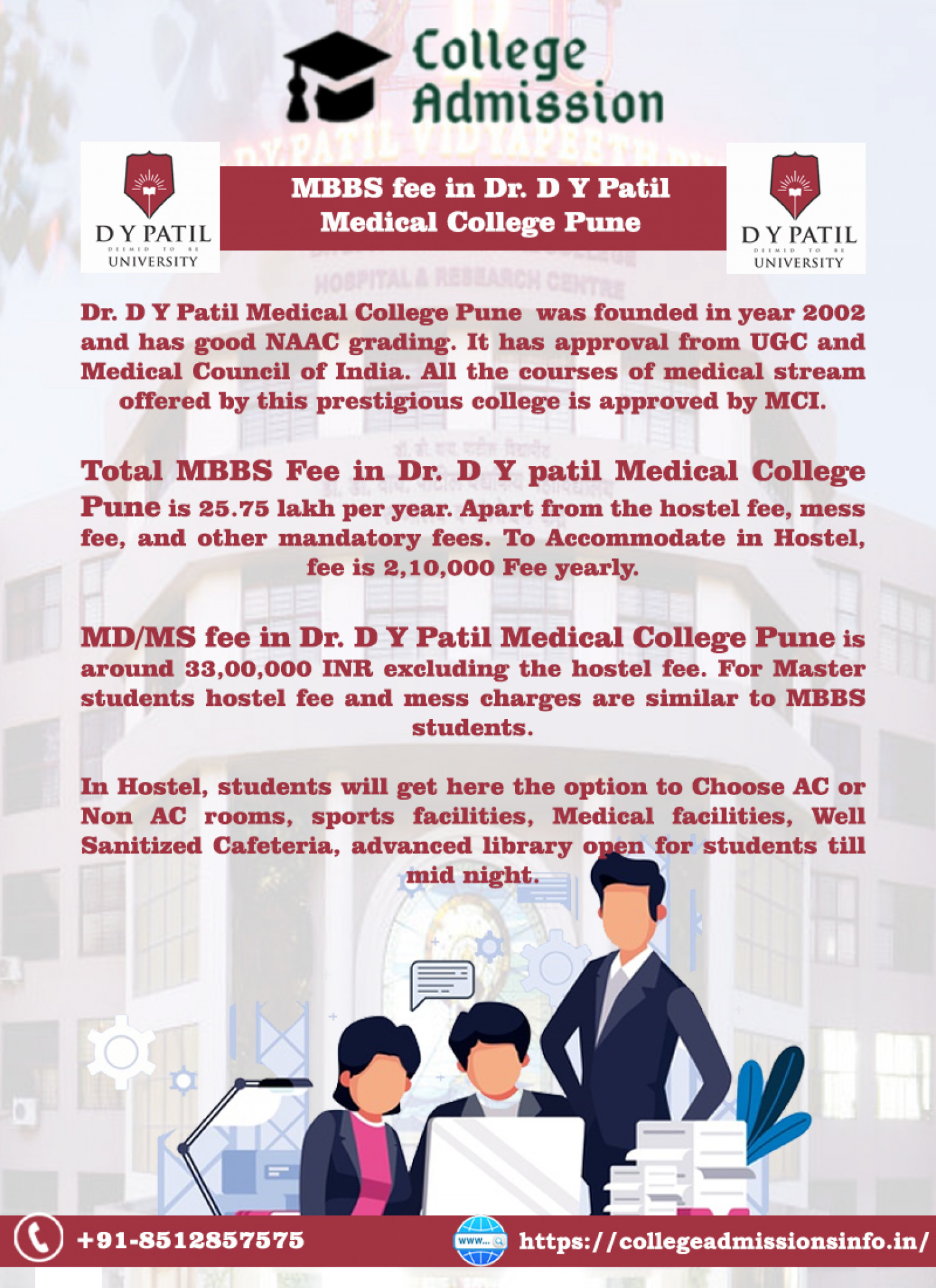 Get the MBBS fee structure detail in DY Patil Medical College Infographic