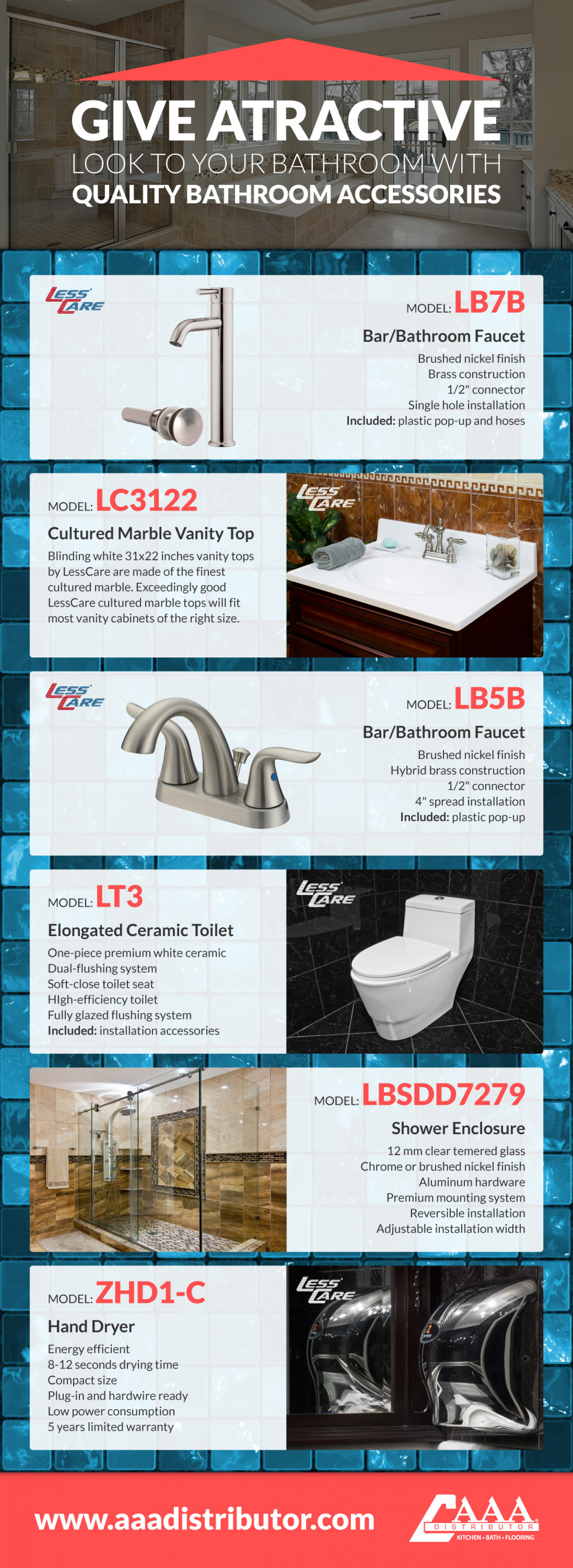Give Attractive Look to your Bathroom with Quality Bathroom Accessories Infographic