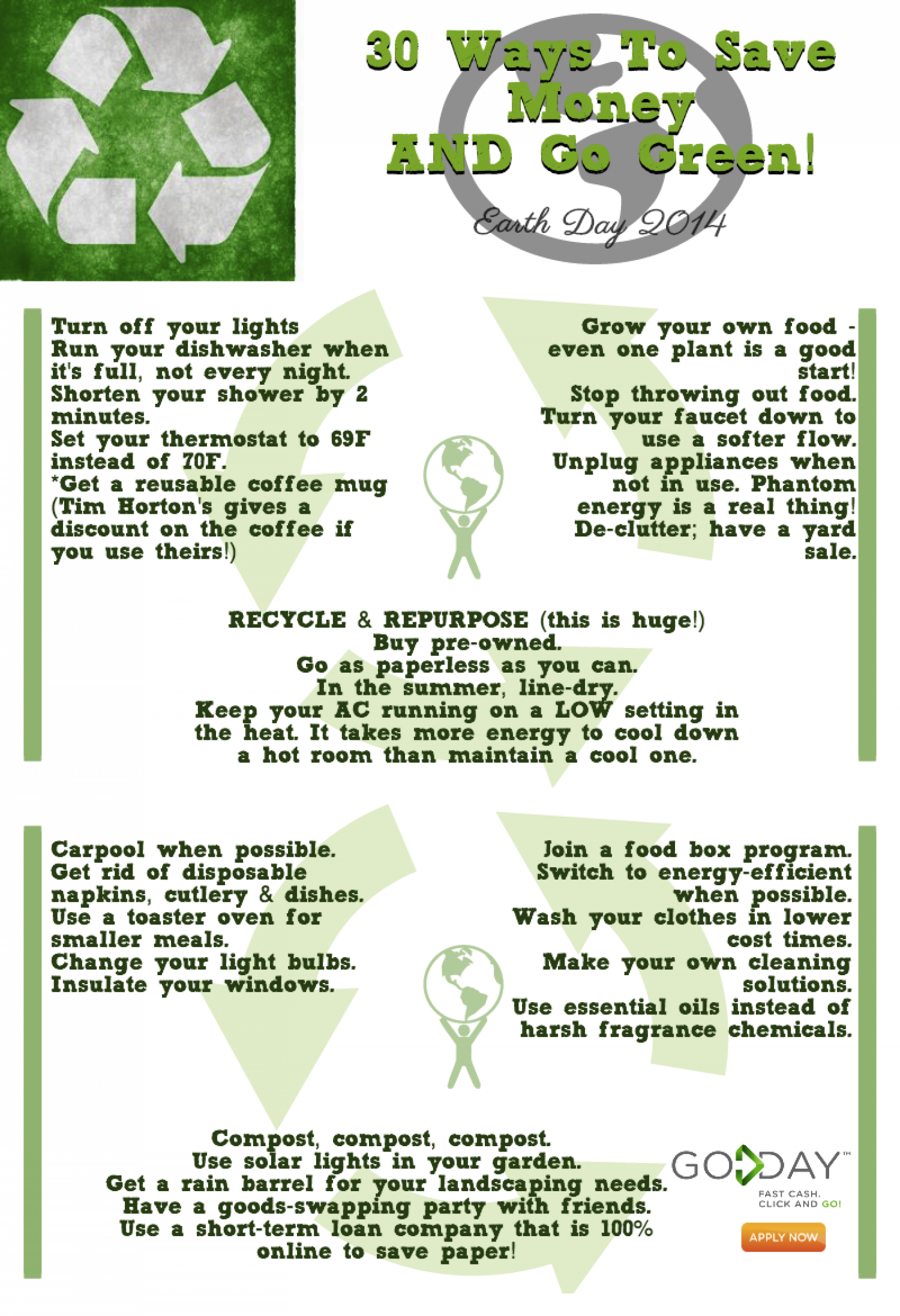 Go Green & Save Money This Earth Day Infographic