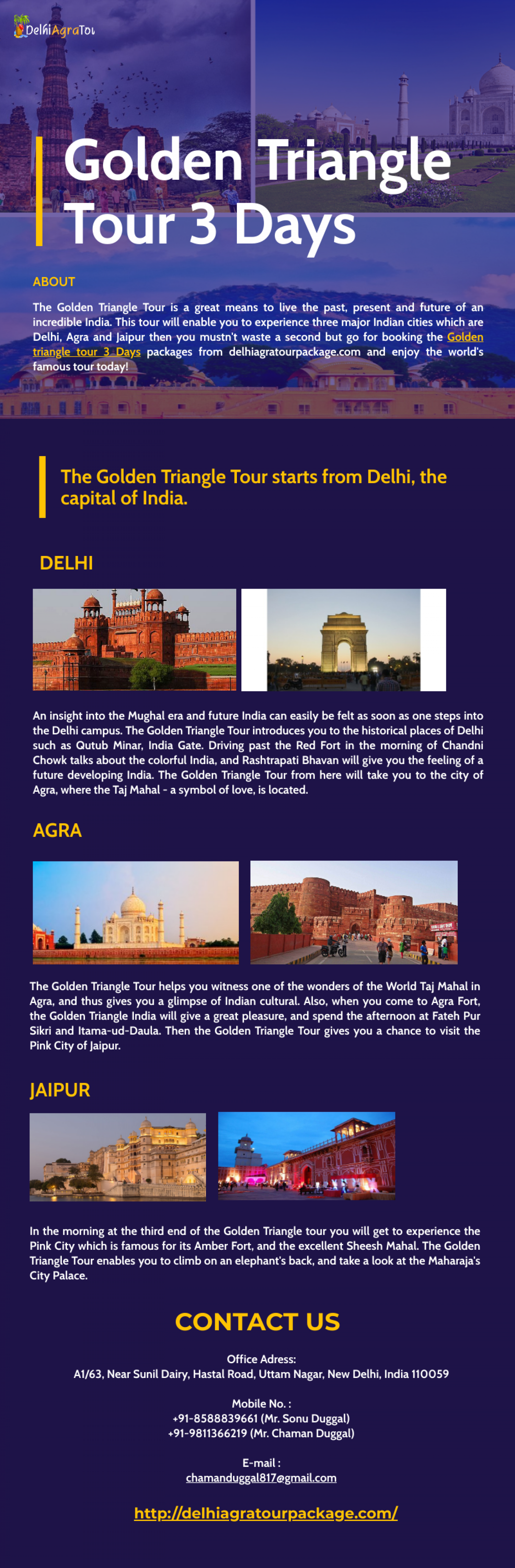 Golden Triangle Tour 3 Days Infographic