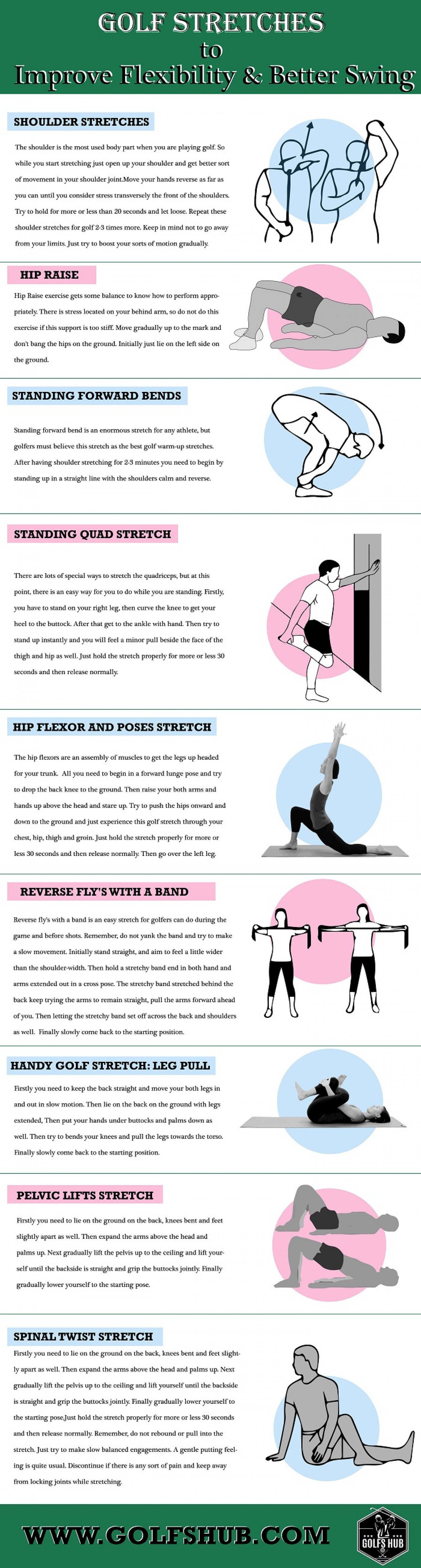 Golf Stretches to Improve Flexibility & Better Swing Infographic