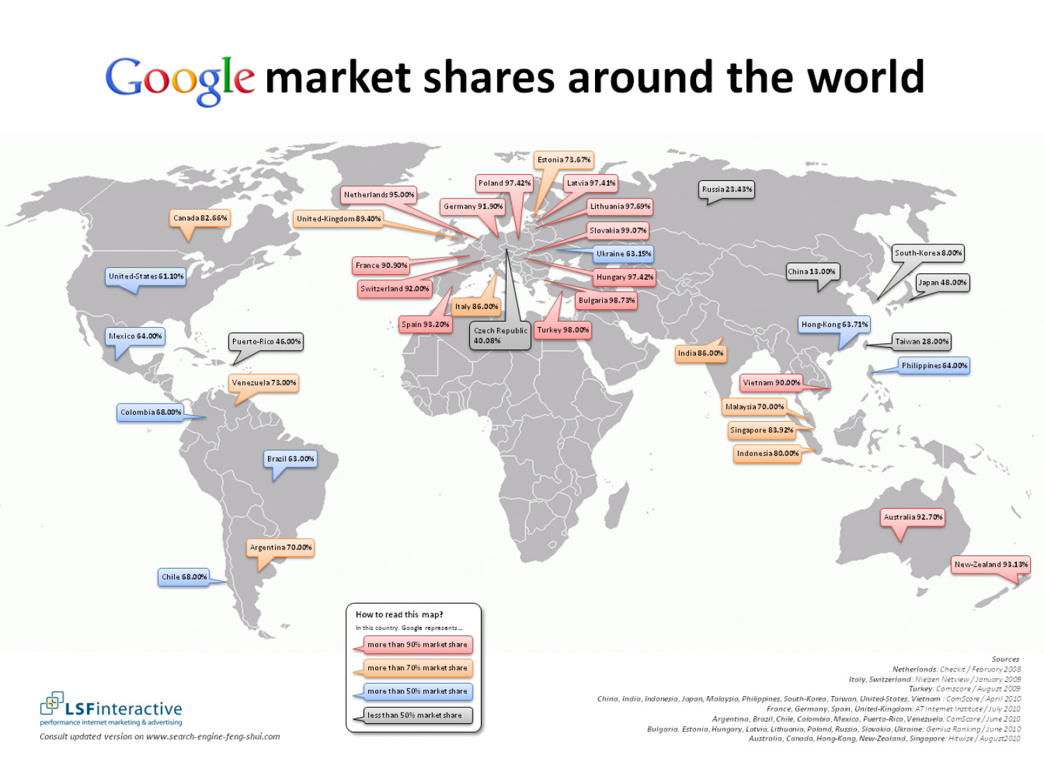 Google market shares around the globe - Infographics - State of Search Infographic