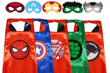 GREAMBABY Superhero Capes with Masks Dress up Costumes Halloween Cosplay Festival Birthday Party Favors for Kids- Price: $26.99 Infographic