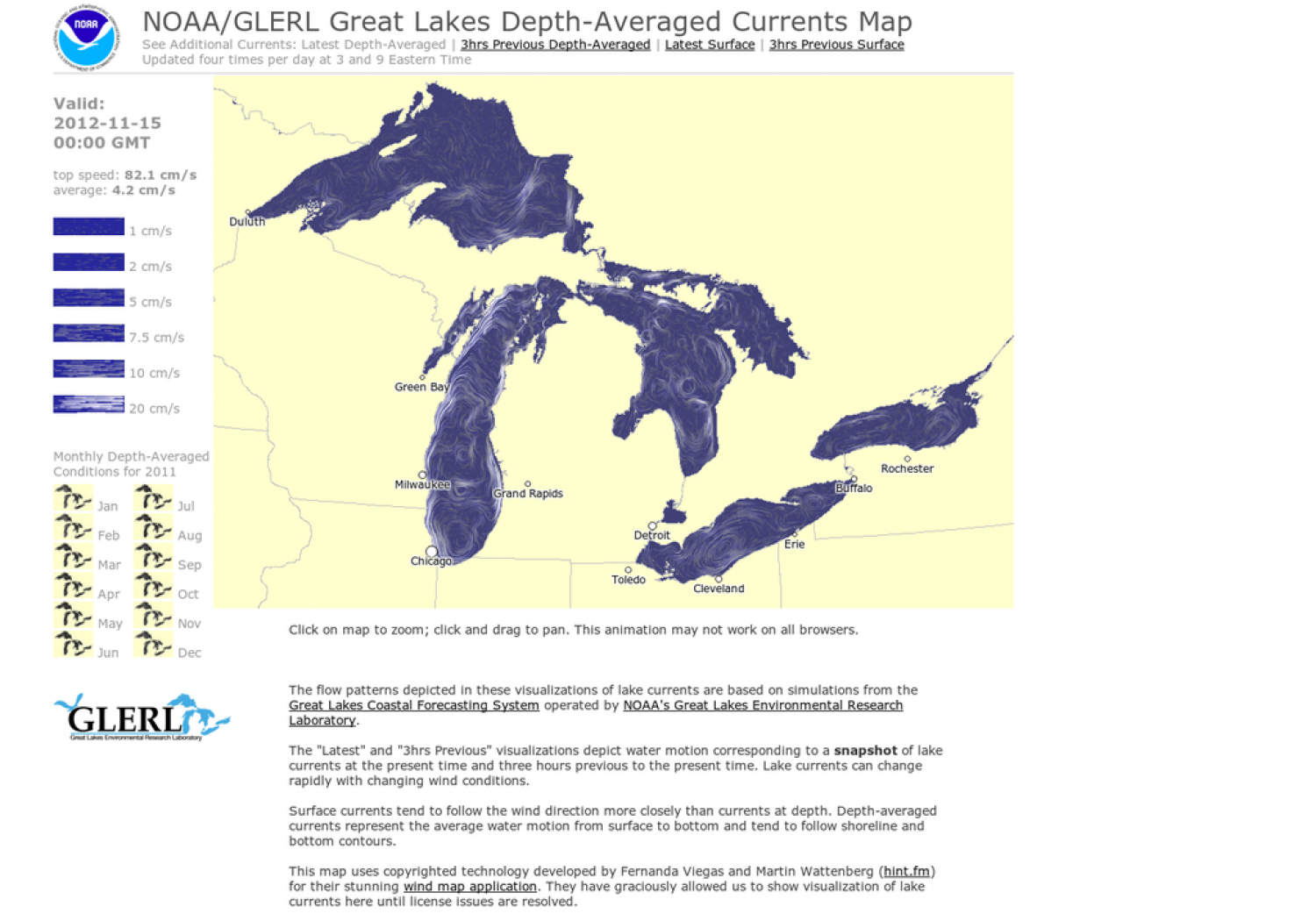 Great Lakes Depth-Averaged Currents Map Infographic