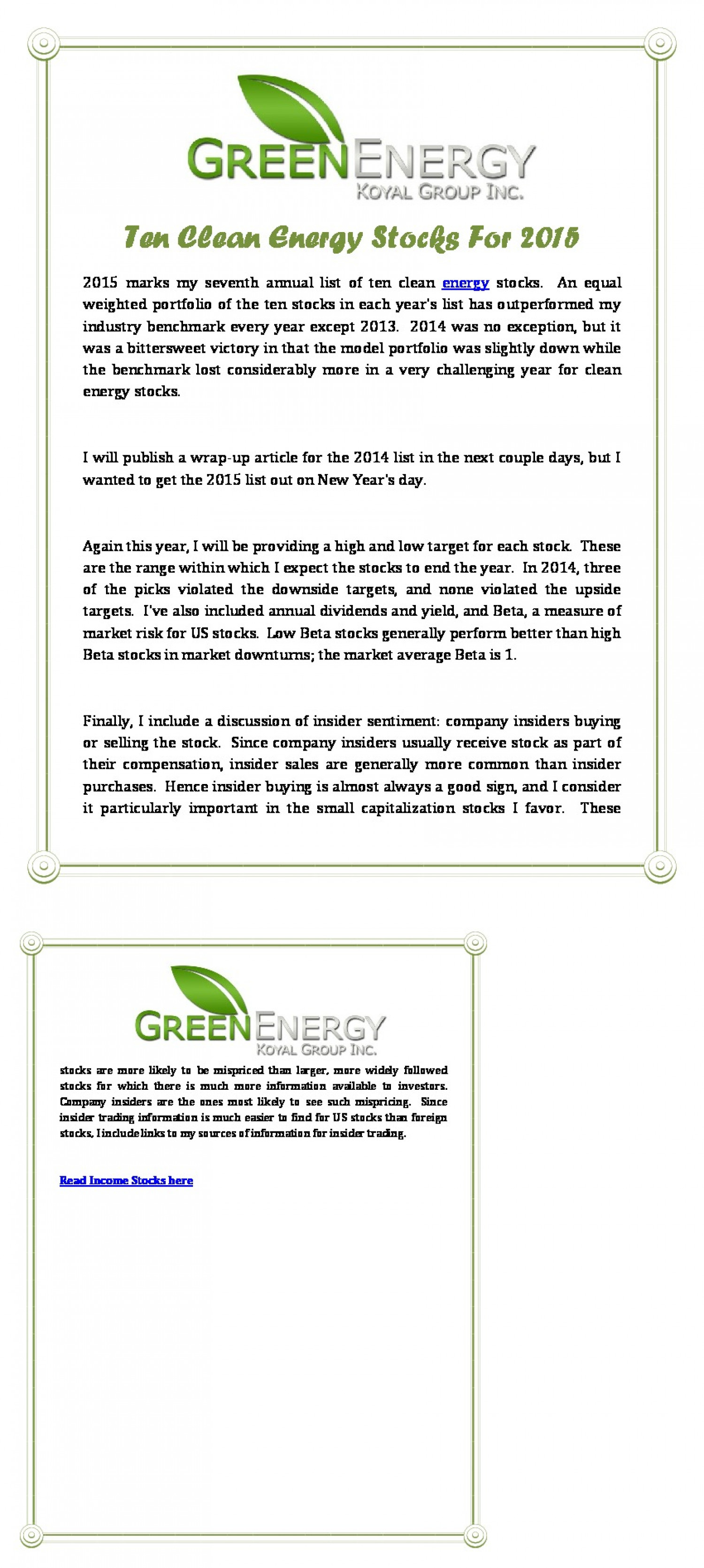 Green Energy Koyal Group Inc: Ten Clean Energy Stocks For 2015 Infographic