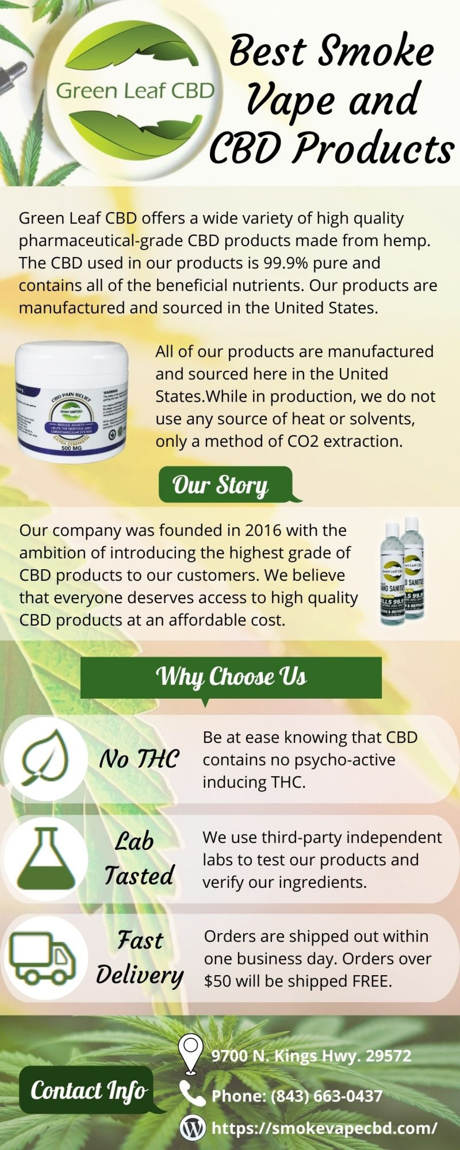 Green Leaf CBD for Variety of Smoke Vape and CBD Products Infographic