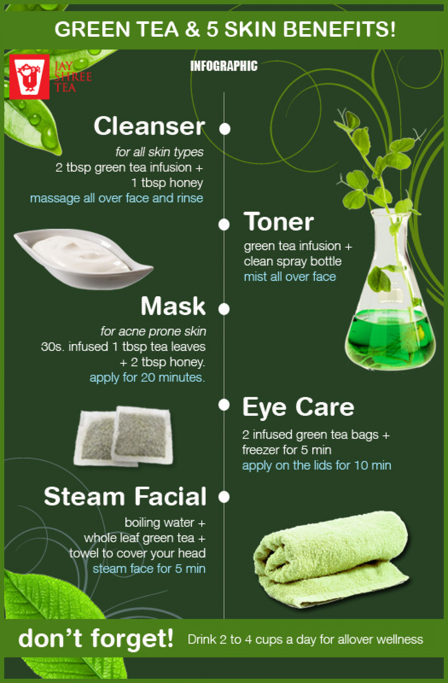 green tea and 5 skin benefits | visual.ly
