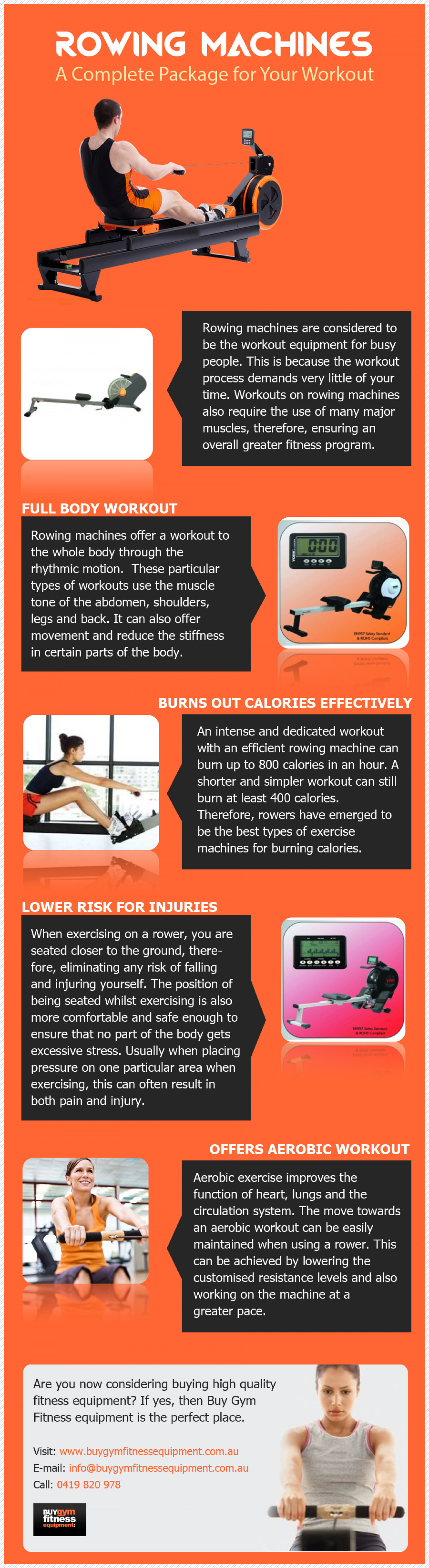 Gym & Fitness Equipment Australia - Rowing Machines: A Full Workout Package Infographic