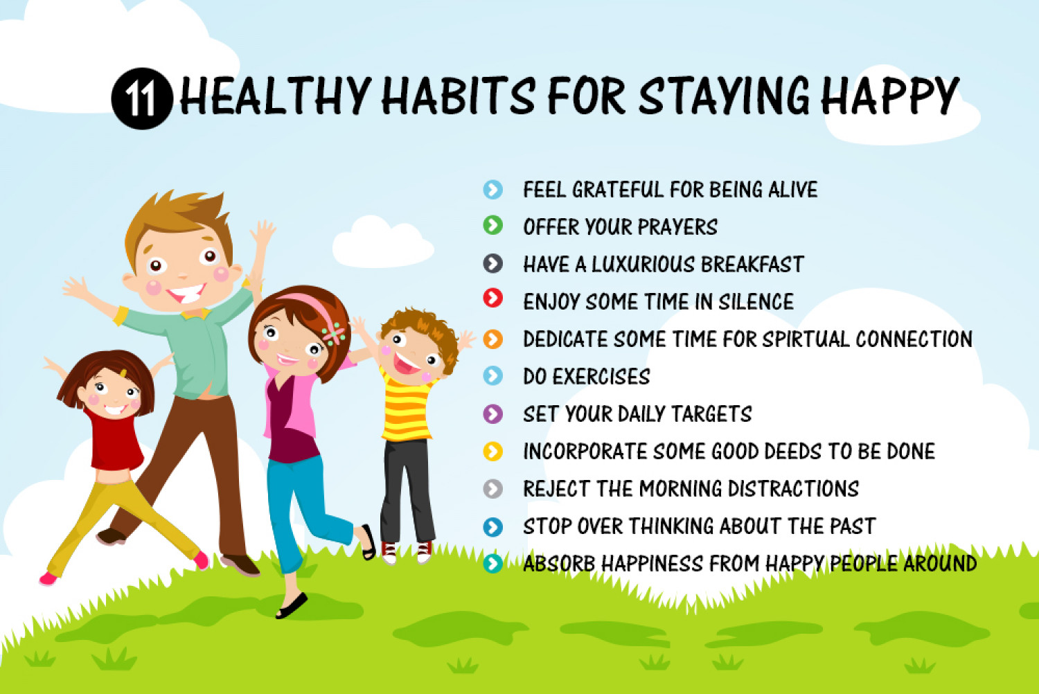 Habits That Makes You Healthy And Happy Infographic
