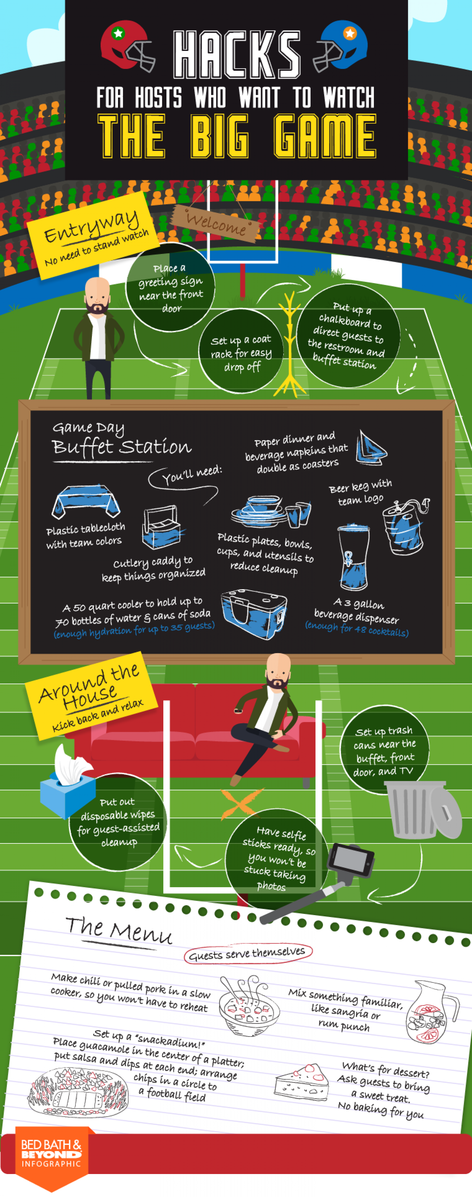 Hacks for host who want to watch the big game Infographic