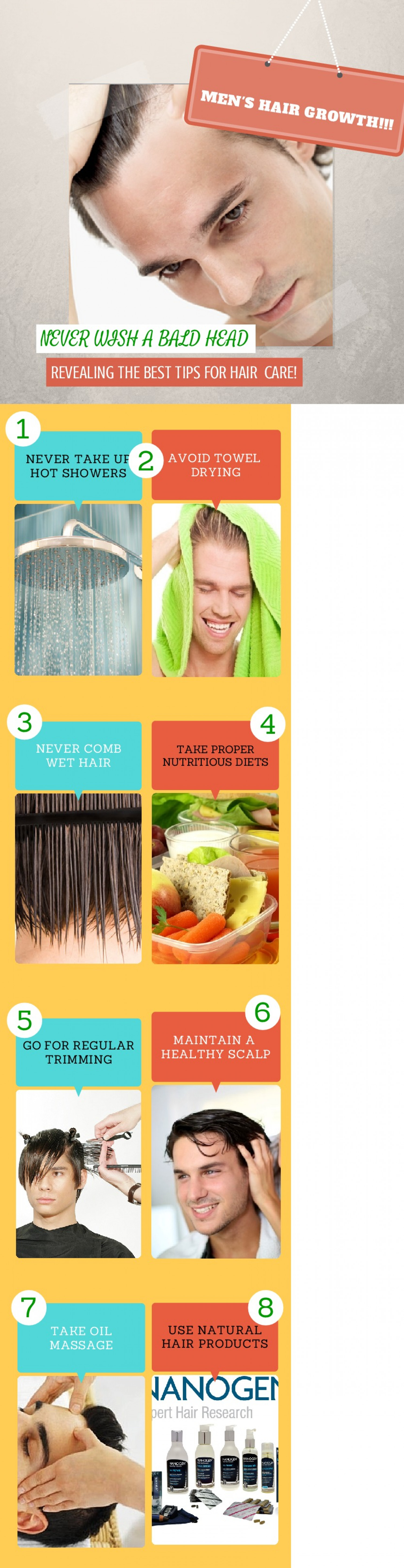 Hair Growth Tips for Men Revealed!!! Infographic