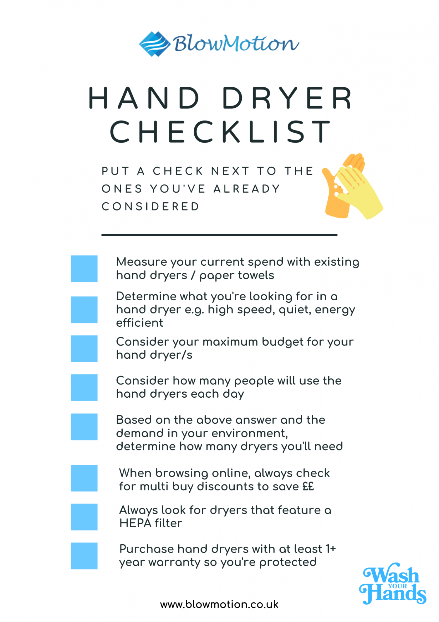 Hand Dryer Checklist for Covid19 Infographic