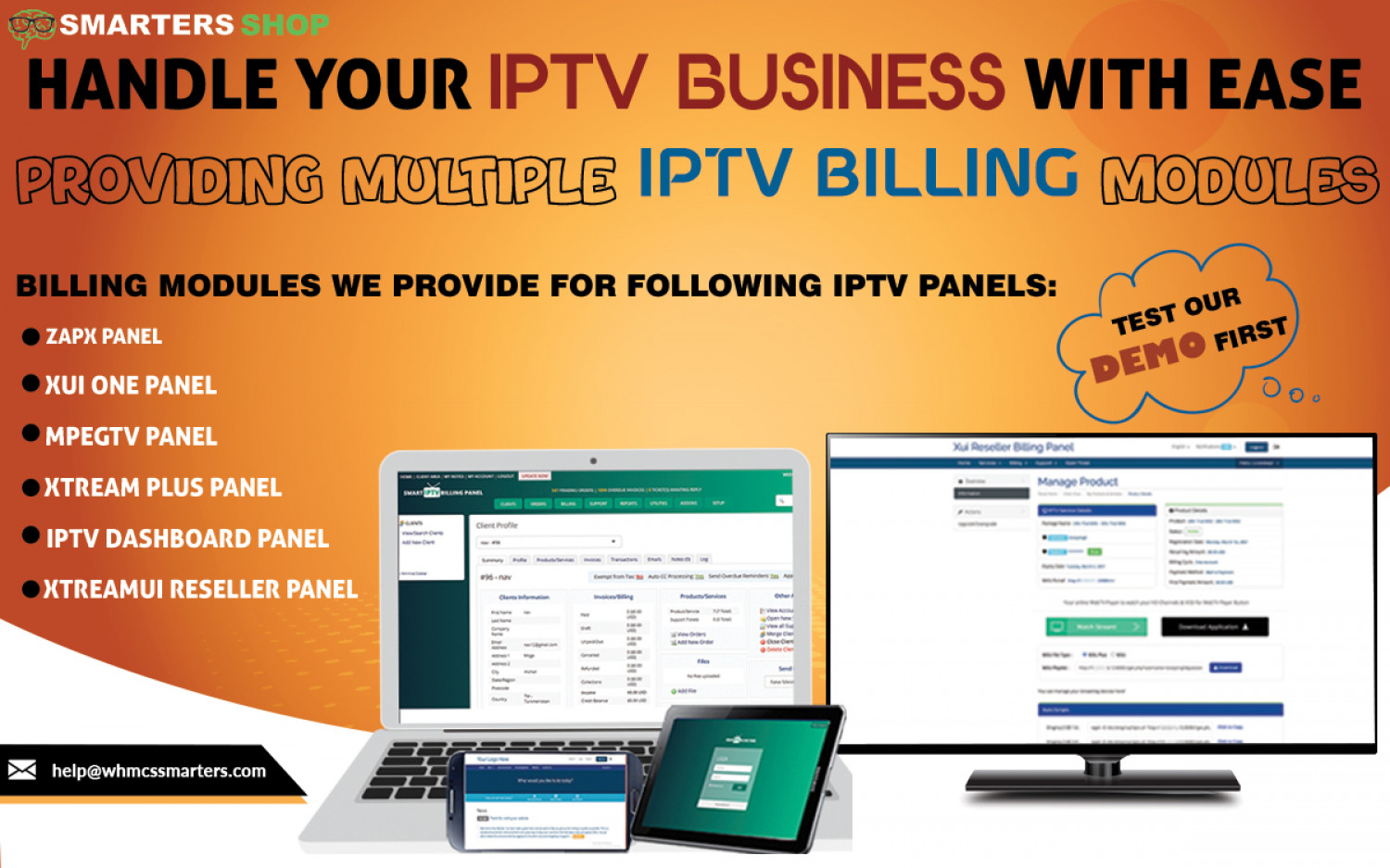 HANDLE YOUR IPTV BUSINESS EASILY USING OUR IPTV BILLING MODULES Infographic
