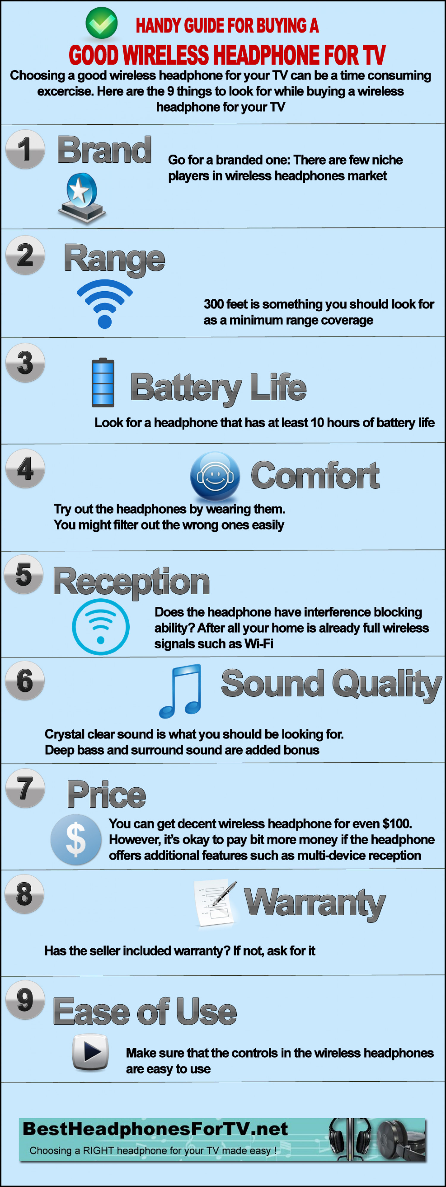 Handy Guide For Buying a Good Wireless Headphone for TV Infographic