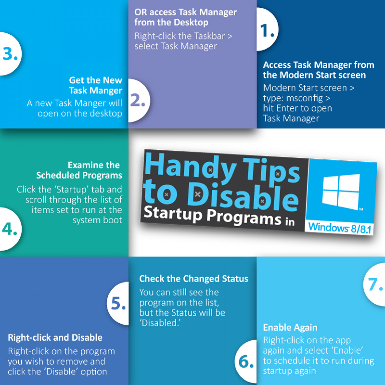 Handy Tips to Disable Startup Programs in Windows 8 or 8.1 Infographic