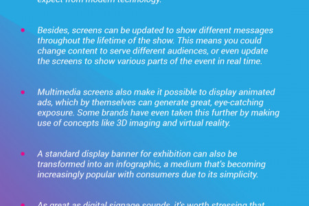 Have you considered incorporating digital signage into your display banner for exhibition Infographic