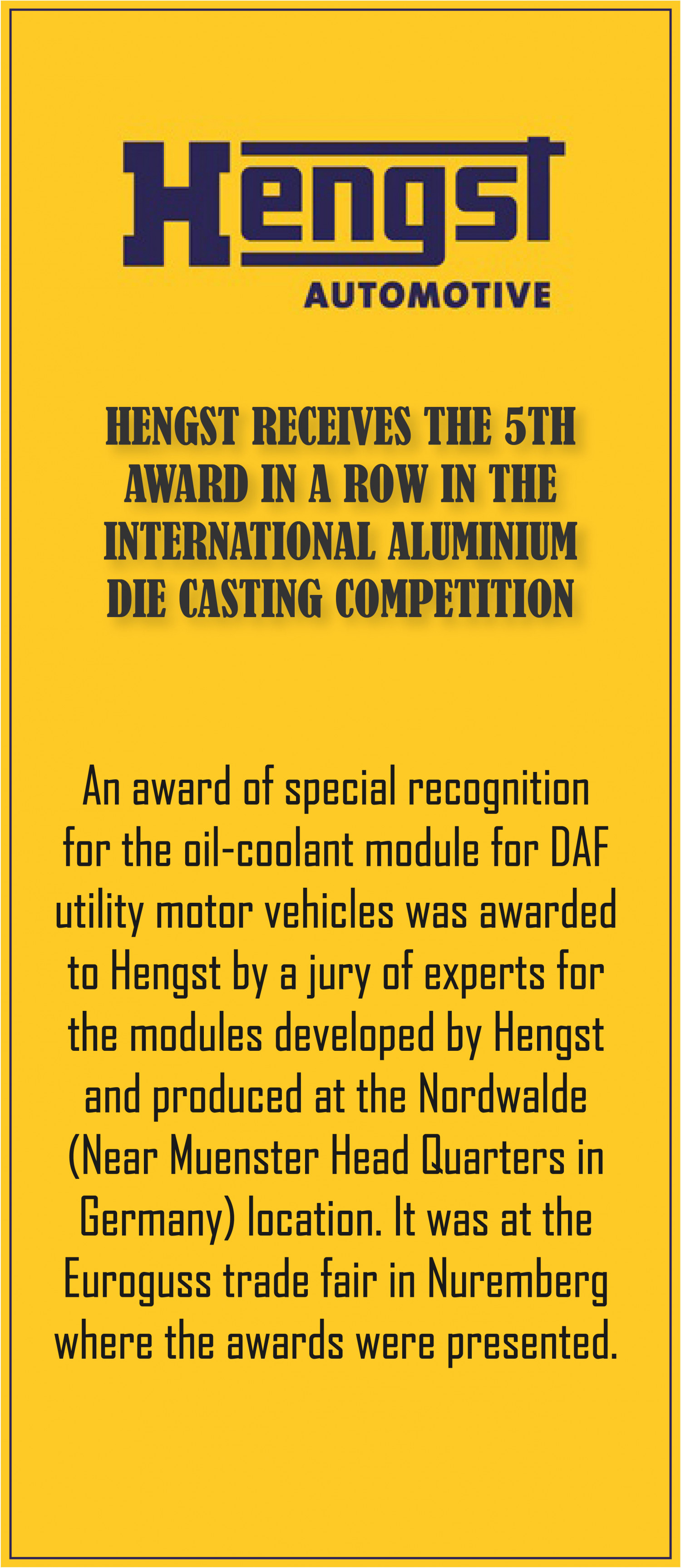 Hengst receives the 5th award Aluminium Die Casting Competition Infographic