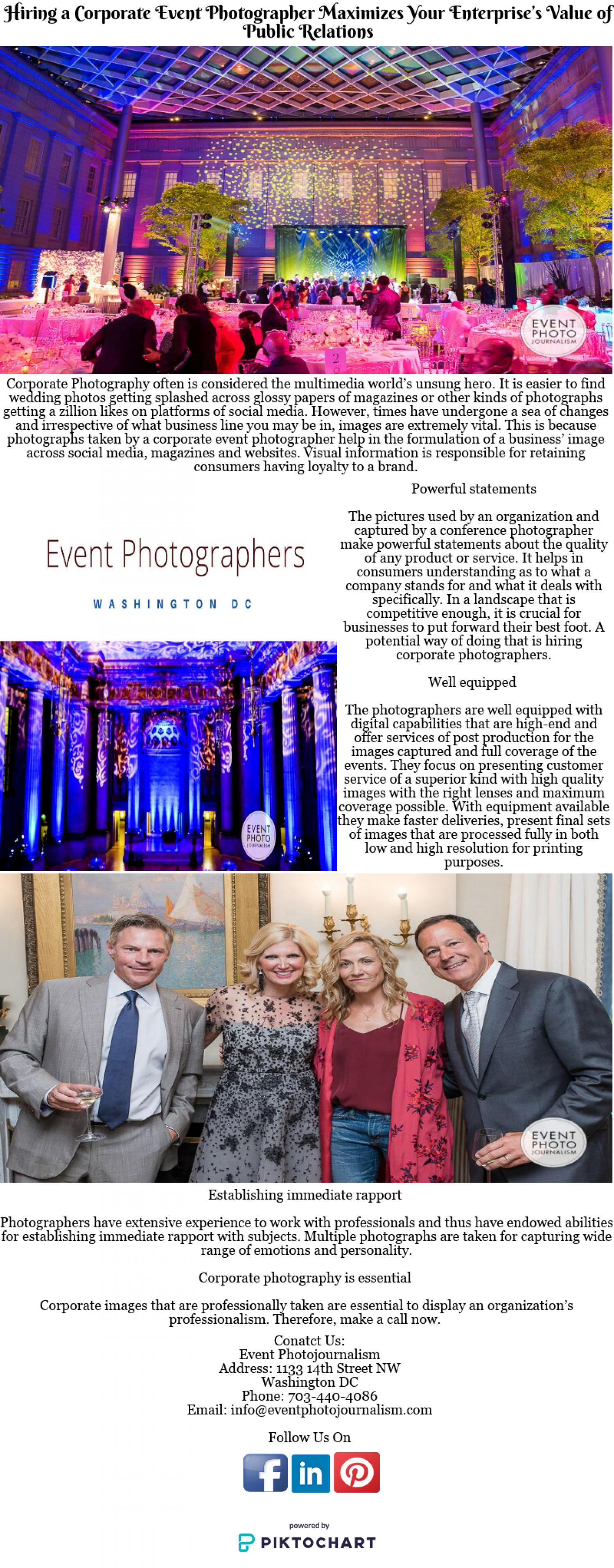 Hiring a Corporate Event Photographer Maximizes Your Enterprise's Value of Public Relations Infographic