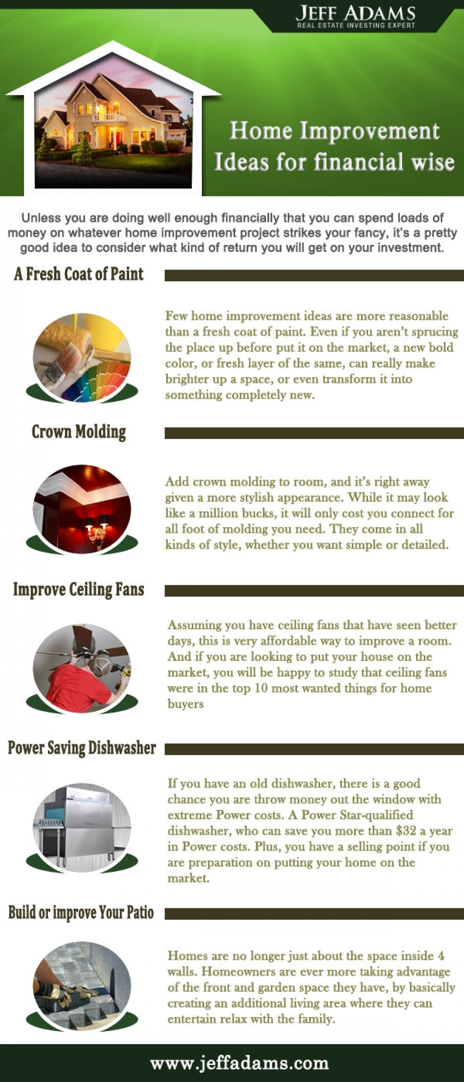 Home improvement tips to help you out home improvement ideas - Home Improvement Ideas For Financial Wise Jeff Adams Tips Infographic