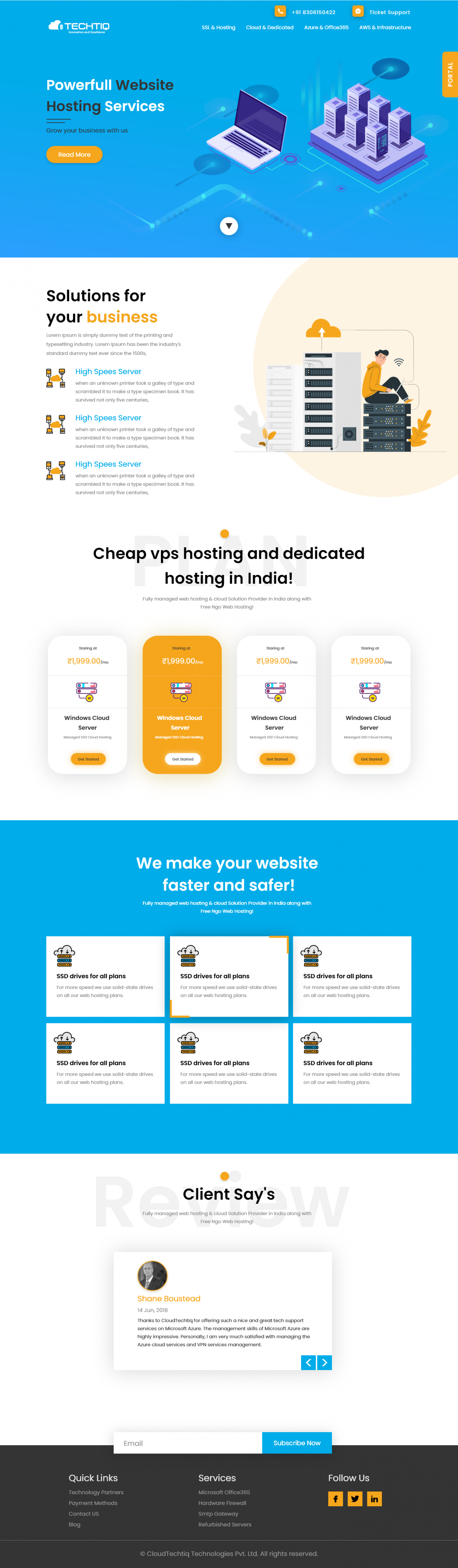 Home Page Design of Web Hosting Comapny Infographic