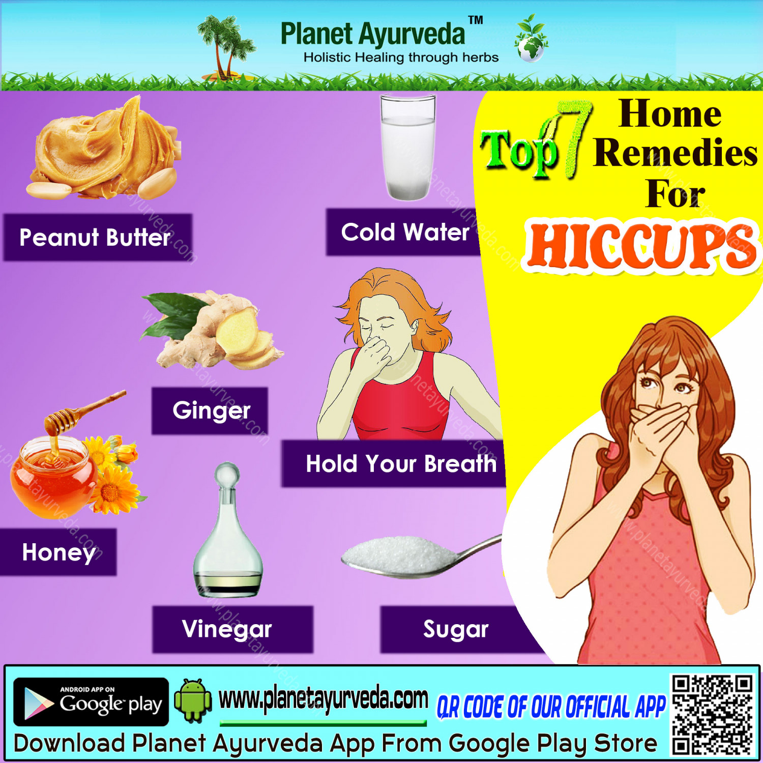 Home Remedies for Hiccups - Top 7 Home Remedies Infographic