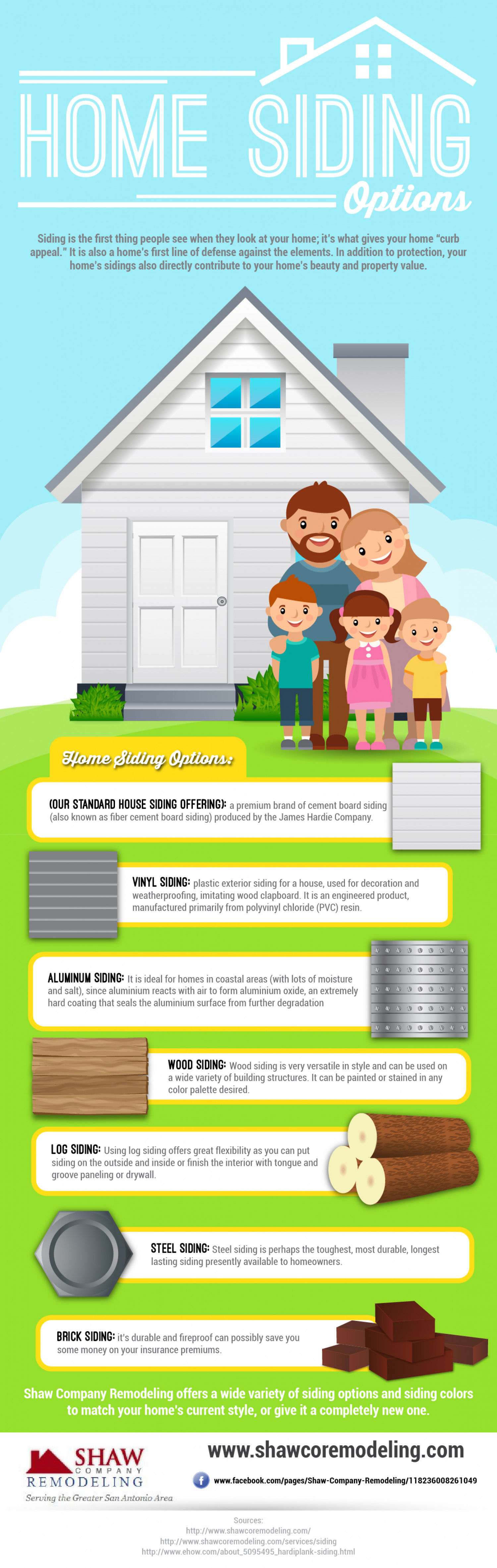 Home Siding Options Infographic   Shaw Company Remodeling San Antonio  InfographicHome Siding Options Infographic   Shaw Company Remodeling San  . Shaw Company Remodeling San Antonio. Home Design Ideas