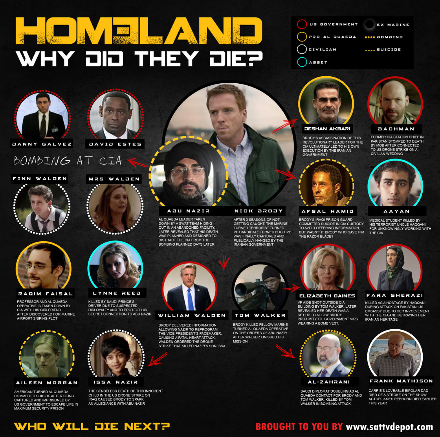 Homeland: Why Did They Die? Death Chart Infographic